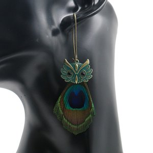 Wholesale Creative Black Crystal Owl Drop Earrings Bohemian Peacock Feather Dangle Women Vintage Alloy Long Earrings Jewelry