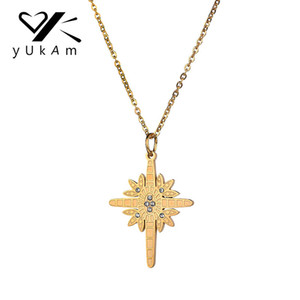 Wholesale stainless steel star pendants for sale - Group buy YUKAM Jewelry Creative Gold Sun North Star Pendant Necklaces for Women Stainless Steel Crystal Rhinestone Cross Choker Necklaces