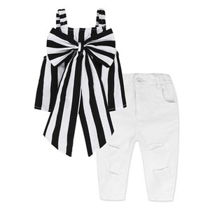 Wholesale 1 T Girls INS striped outfits pc sets black white stripe big bow suspender tops white distressing trousers fashion retro kids clothing