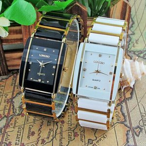 Wholesale 2016 New Diamonds Elegant Men Ladies Wristwatches Analog Quartz Ceramic Steel Square LONGBO WATCH Couple Lover Luxury Gift Watch