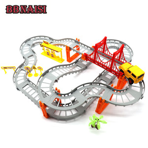 Wholesale DIY Multi Track Rail Car Building Block Railway train set Electric Car Educational Assembly Toys For Kids Children Toy Gift