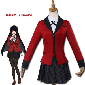 New Anime Kakegurui Yumeko Jabami Halloween Cosplay Costumes Japanese School Girls Uniform Full Set Jacket+Shirt+Skirt+Stockings+Tie