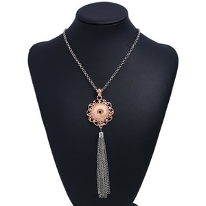 Wholesale 1PC Retail NOOSA Rose Gold Ginger Snap Jewelry Tassel Necklace mm Metal Button Pendant Sweater Chain