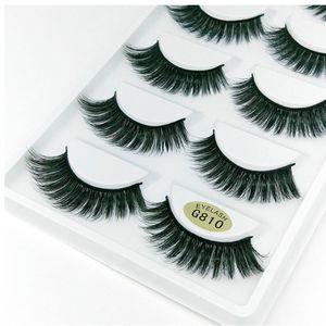 5 Pairs Box 3D 100% mink Corner Thick False Eyelashes Blue Black Long Thick Cross Handmade eye lashes makeupMink Eyelashes
