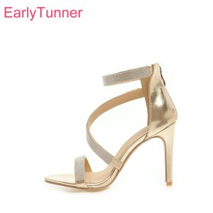 Brand New Summer Glamour Gold Silver Women Bridal Sandals Super High Heels Sexy Crystal Lady Shoes EH853 Plus Big Size 10 43