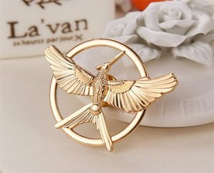 Wholesale 500pcs Retro Movie Jewelry The Hunger Game Bird Brooches pin metal Mockingjay Pins jewelry for men women Halloween gift R089