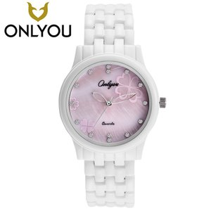 Wholesale ONLYOU Woman Watches 2017 Brand Luxury Female Diamond Flower Wristwatch Ladies Fashion Casual Ceramic Clock Valentine's Day GiftS914
