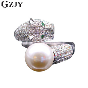 Wholesale GZJY Fashion Tiger Inlay Cubic Zircon Shell Pearl Opening Rings For Women White Gold Color Ring K02