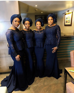 Hot Sell Dark Navy Lace Mermaid Bridesmaid Dresses Vintage Long Sleeves Arabic African Plus Size Maid of Honor Gowns on Sale