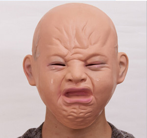 Wholesale 2018 new in toys Realistic crying baby full head baby crying face mask practical joke headgear Halloween party