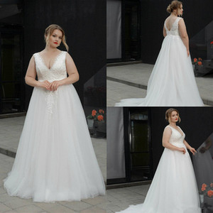Wholesale 2019 Plus Size Wedding Dresses V Neck A Line Floor Length Fat Women Lace Wedding Dress Backless Appliques Custom Made Bridal Gowns