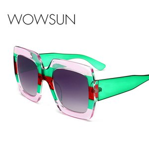 Wholesale WOWSUN Luxury Oversized Square Sunglasses Women Vintage Brand Designer Crystal Frame Sun Glasses for Female Red Blue Shades A252