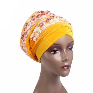 Women's Luxury Velvet Turban Headband Pearl Pleated Extra Long Solid Color Hijab Head Wrap Tube Indian Headwrap Scarf Tie