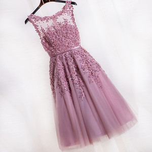 Women Short Evening Dresses 2020 Dusty Rose Pink Bridesmaid Dresses Cheap Knee Length Prom Dresses Lace Appliques Party Gowns Evening Wear