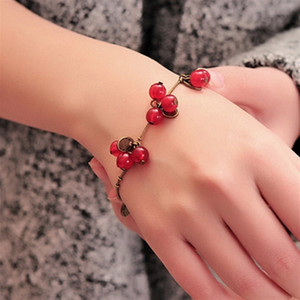 Wholesale SL030 Hot New Fashion Vintage Sweet Cute Coin Red Cherry Charm Chain Bracelet Bangle for Women Jewelry Gift mujer pulseras