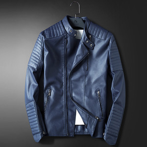 Wholesale- LEDINGSEN Mens Blue Motorcycle Leather jacket Men Slim Fit Red Casual Jacket Coat Autumn Winter Leather Clothing Windbreaker