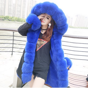 Wholesale 2018 Winter Jacket Women Coat Hood Natural Real Raccoon Fur Collar Fox Fur Liner Detachable Outerwear Thick Warm Parka New