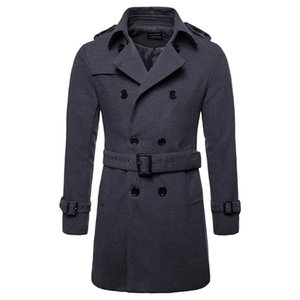 Wholesale Wool Coat Men Long Warm Woolen Coats Mens Casual Jacket Casaco Masculino Palto Peacoat Overcoat Down Collar Long Woolen Jacket