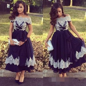 2018 Off-Shoulder A-Line Elegant Evening Dresses Short Sleeve Tea-Length Pattern Sashes Decent Evening Gowns New Design Prom Dresses on Sale