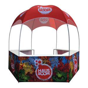 Wholesale New Design New Fashion Dome Sale Booth Mall Food Kiosks Vending Tent Pop Up Bar Tent with Dye-Sublimation Graphics and Portable Wheeled Bag