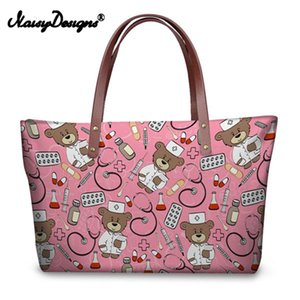 Wholesale Noisydesigns Shopping Cute Bear Casual Handbag Cartoon Nurse Prinit Big Shoulder Bags Women Ladies Summer Beach Girls Tote Bag