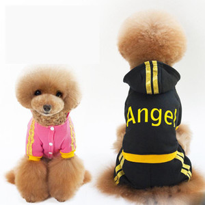Autumn Winter Dog Angel Letters Hoodie Clothes Puppy Apparel Cotton Warm Coats Jackets With Hat Lovely Sweater Black Pink Pet