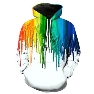 Wholesale men hoodies D print colorful galaxy paint painting sweater lion printing pullover man hoodies sweater long sleve fashion hoodies