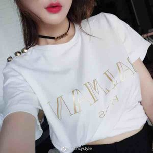 Wholesale Top quality men women Paris Brand Gold buckle T shirt woman man cotton Short sleeve t shirts for women Tops Tees size S XL