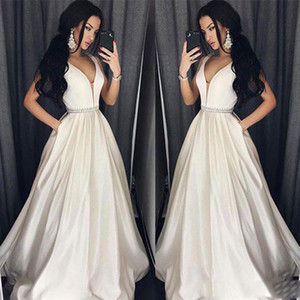 Elegant Plus Size Prom Dresses A-Line Floor-length Long Formal Dress Evening Gown Beads Sash Robe De Soiree on Sale