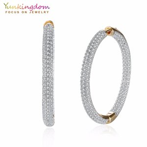 Pave White Cubic Zirconia Crystals Big Circle Hoop Earrings for Women Fashion Party Queen Jewelry