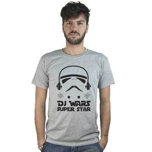 Wholesale T shirt Dj Wars Super Star Grey With Image Funny Music House Techno Harajuku Tops Classic Unique T Shirt