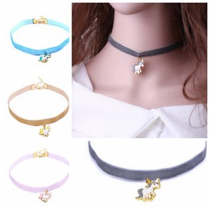Wholesale 4 color Unicorn collar Vintage Choker Necklace For Women Collar Torques Neck Jewelry unicorn collar necklace KKA5917
