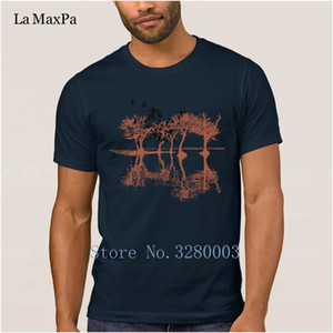 Wholesale Breathable men s t shirt sketch tree bird nature vector illustration image t shirt mens Sunlight Unique tshirt cool Top Quality
