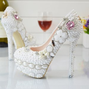 Wholesale Pearl Flowers Wedding Shoes Pink Diamond Pumps High Heels Bridal Shoes cm cm cm cm Bling Bling Prom Shoes for Lady