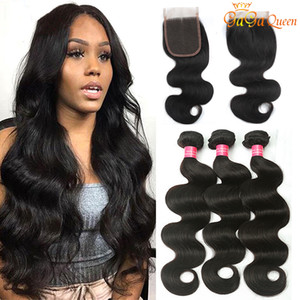 Gaga queen Brazilian Body Wave Hair 3 Bundles With 4x4 Lace Closure Grade 8A Lace Closure With Human Hair Bundles Body Wave