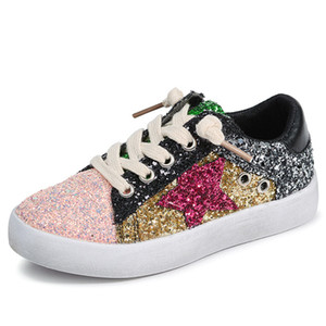 Wholesale 2018 Toddler Baby Shoe Girl Star White Sneaker Boy Sport Shoe Kid Child Causal Trainer Sequin Flats size