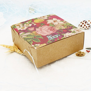 20pcs Vintage Flower Kraft Paper Box Christmas Gift Box Wedding Candy Packaging Boxes Cookie Chocolate Macaron Boxes free shipping