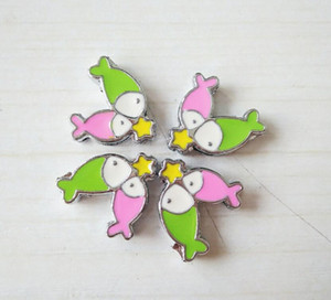 1pcs Mix Colorful Fish Slide Charms Alloy Charms Can Through 8mm Pet Collar Keychain