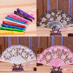 Cheap Ten Colors Lace Flower Bridal Hand Fans Vintage Hollow Bamboo Handle Wedding Accessories Wedding Gift Party Favors F8209