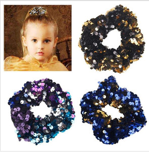 Reversible Sequins mermaid Hair Tie Babies Shinny Stretchy Headbands Kids Girl Wholesale hair accessories girl hairbands
