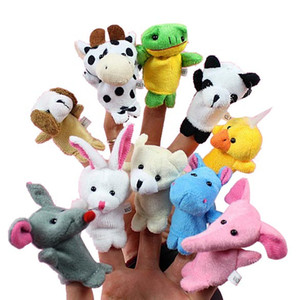 Wholesale brown puppet for sale - Group buy 10pcs set Cartoon Animal Finger Puppet Baby Plush Toys for Children Favor Gift Family Dolls Kids Finger Toy