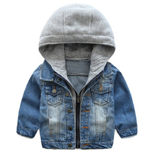2018 New Spring Boys Girls Denim Jackets 1-8 year Child baby Hooded Jacket High quality trend cowboy clothes Y1891308 on Sale