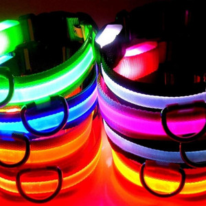 Wholesale New fashion LED Nylon Dog Collar Dog Cat Harness Flashing Light Up Night Safety Pet Collars multi color XS XL Size Christmas Accessories