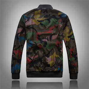 Wholesale Mens Camouflage Bomber Jacket Hollow Out Designer Slim Fit Camo Windbreaker Baseball Jacket and Coat for Men Asian size