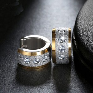 Wholesale jewels for men for sale - Group buy 2018 JEWELS Lead Nickel Free Stainless Steel Small Circle Earrings Paved Shiny CZ Punk Rock Hoop Earrings for Women or Men GTE01