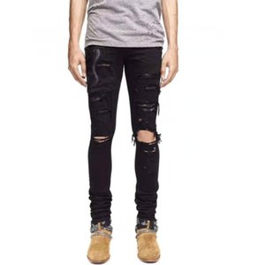 Wholesale 2018 HIGH QUALITY JEANS BRAND SRPING BIKER DENIM STRIPE JEANS MEN LOS ANGELES STREET FASHION HOLE BLUE WHITE BLACK JEANS SLIM SKINNY PANTS