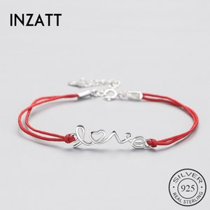 Wholesale INZATT Authentic Sterling Silver Ethnic Red Rope Letter LOVE Bracelet Fine Jewelry For Women Party Trendy Accessories Gift