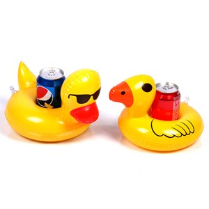 Wholesale 2pcs pair Mini Floating Yellow Duck Cup Holder Swim Pool Beach Water Baby Fun Toys Cute Inflatable Drink Holders