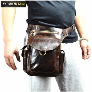 Original Oil Wax Leather Men Design Casual Messenger Bag Coffee Fashion Multifunction Travel Waist Belt Pack Leg Bag Male 9938c