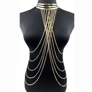 Wholesale whole saleSexy Multilayer Long Tassel Body Necklace Fashion Punk Golden Bikini Harness Big Torques Necklace Beach Jewelry for Women